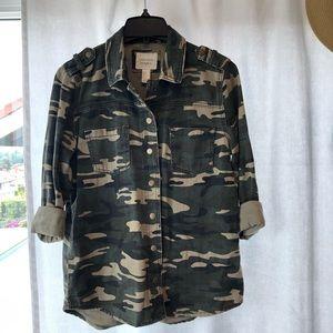 Denim Army Camo Button Up